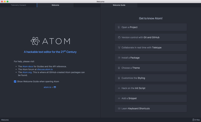Atom Welcome画面