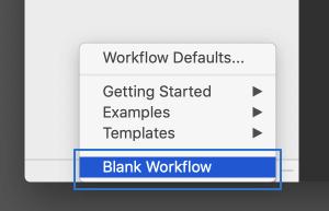 [Blank Workflow]の選択
