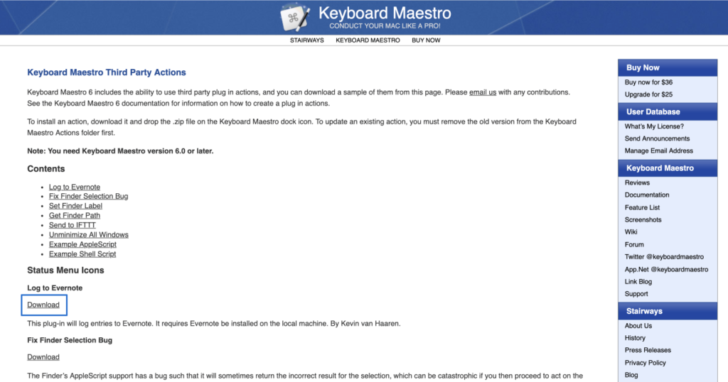 Keyboard Maestro Third Party Actions