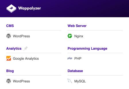 webrandum.netでWappalyzerを使用した例