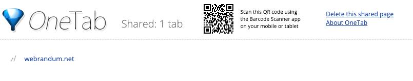 OneTabのシェアページ