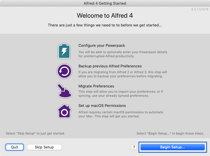 Alfred 4 Getting Started