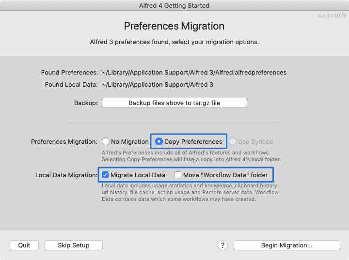 Alfred 4 Preferences Migration