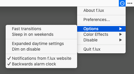 f.lux Options