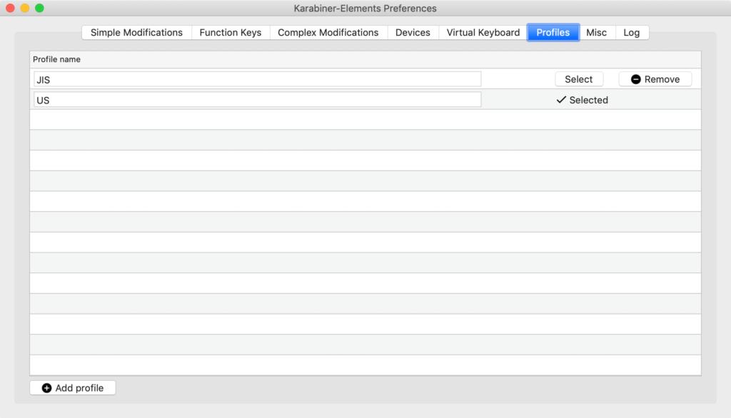 Karabiner-Elementsのプロファイル切り替え