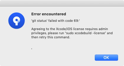 'git status' failed with code 69:'