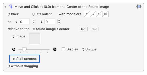 Click at Found Imageの画像検知エリアの設定