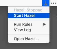 メニューからHazelのスタート・ストップ