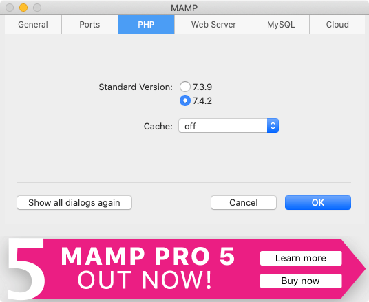 MAMPのPHP選択