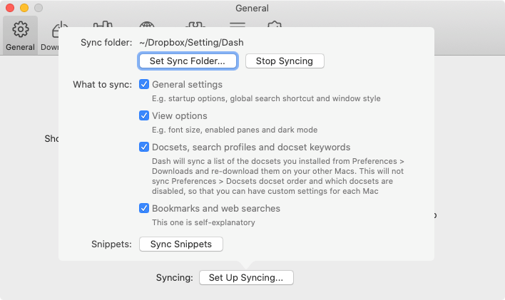 「Set Up Syncing...」内の設定