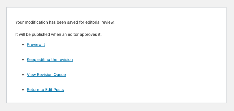 「Save as Pending Revision」クリック後の画面